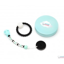 Pack Regalo Chupetero Mordedor Personalizado Rock Baby Mint  + Mordedor Biscuit + + Sonajero Mordedor
