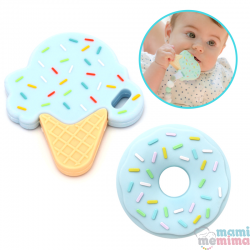 Pack 2 Mordedores Silicona: Ice Cream + Donuts Blue