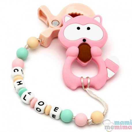 Pack Juguete Mordedor Para Carrito Blue&Mint Personalizado Con Mordedor Baby Mapache