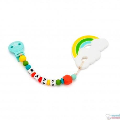 Pack  Mordedor arco iris + Sujeta Chupetes Mordedor Personalizado de Silicona