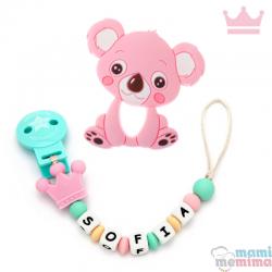 Tira de Chucha Con Nome Princess Pink + Mordedor em forma Koala