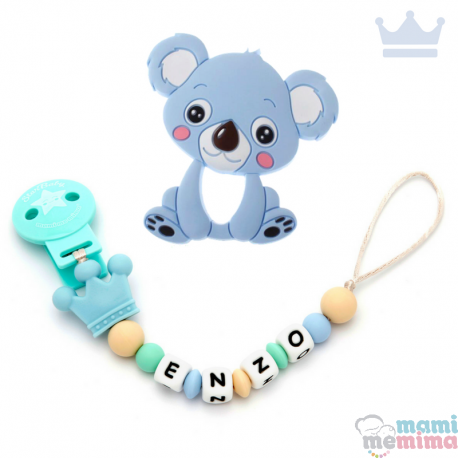 Pack Mordedor Koala + Sujeta Chupetes Mordedor Personalizado de Silicona Princess Blue