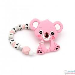 Pack Mordedor Koala + Sujeta Chupetes Mordedor Personalizado de Silicona Sweet Pink