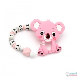 Tira de Chucha Con Nome Sweet Pink + Mordedor em forma de Koala