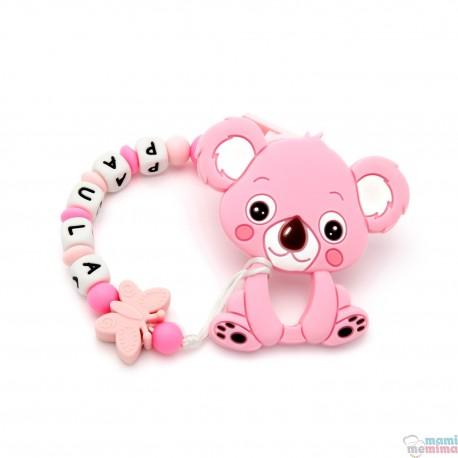 Pack Mordedor Koala + Sujeta Chupetes Mordedor Personalizado de Silicona Butterfly Pink