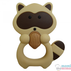 Mordedor Silicone Baby Guaxinim Bege
