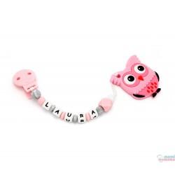 Tira de Chucha Con Nome Sweet Pink + Mordedor em forma de Coruja