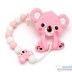 Pack Corrente de Chupeta + Mordedor Bebê Koala Rosa