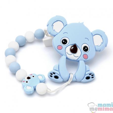 Pack Corrente de Chupeta + Mordedor Bebê Koala Azul