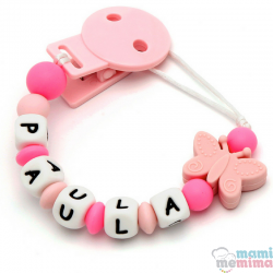Sujeta Chupetes Mordedor Personalizado de Silicona Butterfly Pink+Pink