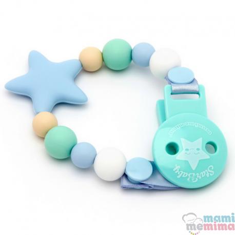 Sujeta Chupetes Mordedor Silicona Modelo Star Blue&Mint