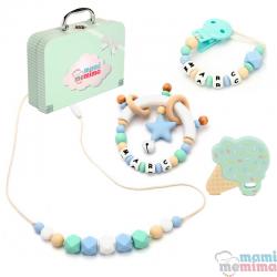 Cesta de Nascimento Mãe e Bebê Blue&Mint Summer Edition- Parabéns Mãe, bem-vindo bebê