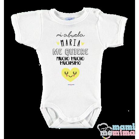 """Body Bebé Personalizado """"mi abuela/madrina/tia me quiere mucho"""""""