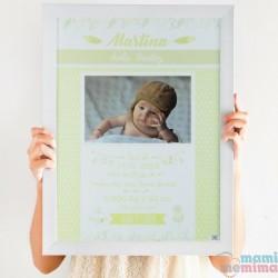 Poster Nascimento Amarelo com fotografia