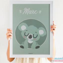 """Lámina Infantil Personalizada """"Baby Koala Mint"""""""