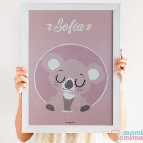 "Lámina Infantil Personalizada ""Baby Koala Rosa"""
