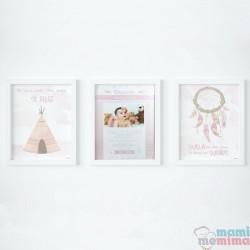 Pacote 3 Poster: Poster Nascimento e Dois Poster Decorativos Rosa