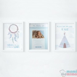 Pacote 3 Poster: Poster Nascimento e Dois Poster Decorativos Azul