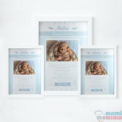 Pacote 3 Posters de Nascimento Azuis com Molduras
