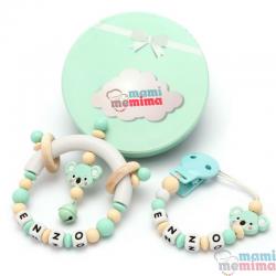 Confezione regalo Chupetero anello Dentizione & Sonaglio anello Dentizione Rosa e Menta, Personalizzato con Nome