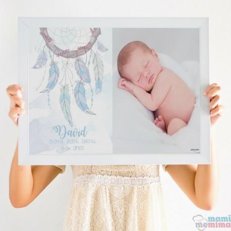 Poster Nascimento Azul Apanhador de Sonhos com Fotografia