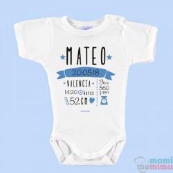 Body Bebê Nascimento Personalizado Com Todos Os Dados Azul
