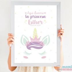 Póster Unicornio Princesa Rosa