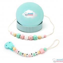 Pack Regalo Collar Mordedor y Chupetero Mordedor Personalizado Pink&Mint