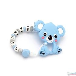 Pack Mordedor Koala + Sujeta Chupetes Mordedor Personalizado de Silicona Sweet Blue