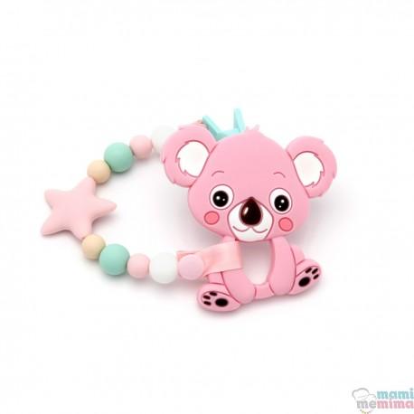 Pack Mordedor Koala + Sujeta Chupetes Mordedor Star Pink&Mint
