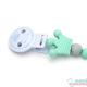 Pack Mordedor Mapache Mint + Sujeta Chupetes Mordedor Personalizado Sweet Mint Little Prince