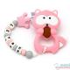 Pack Mordedor Mapache Pink + Sujeta Chupetes Mordedor Personalizado Sweet Pink Little Princess