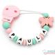 Sujeta Chupetes Mordedor Personalizado de Silicona Butterfly Pink