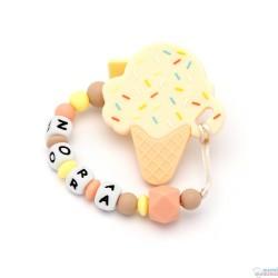 "Pack Mordedor Ice Cream + Sujeta Chupetes Mordedor Personalizado de Silicona ""Soy un Pastelito"" Melocotón-Amarillo"