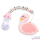 "Pack Mordedor Flamingo + Sujeta Chupetes Mordedor Personalizado de Silicona ""Little Princess"" Sweet Pink"
