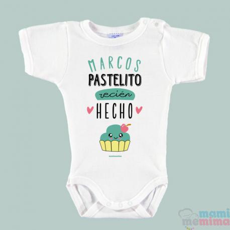 """Body Bebé Personalizado con Nombre Mint """"Pastelito Recién Hecho"""""""