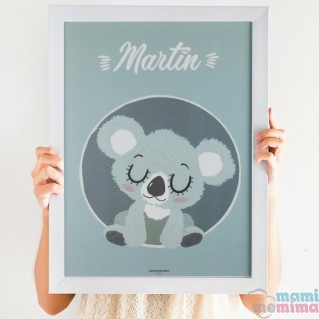 "Lámina Infantil Personalizada ""Baby Koala Azul"""