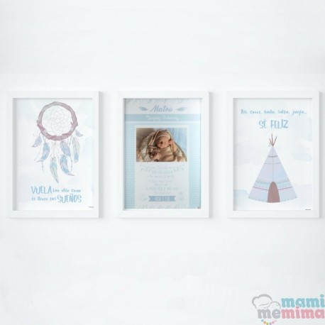 Pack 3 Láminas - Lámina de Nacimiento y Láminas Decorativas Color Azul