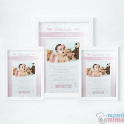 Pack 3 Cuadros de Nacimiento con Foto Rosa