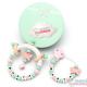 Pack Regalo Chupetero Mordedor & Sonajero Mordedor Butterfly Pink+Mint Personalizado con Nombre