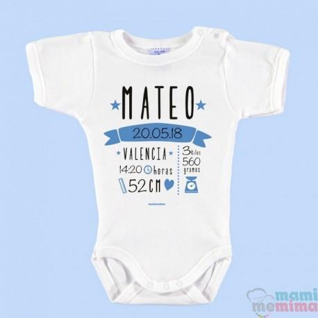 Body Bebé Personalizado Nacimiento Con Todos Los Datos Azul 327356d856e