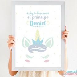 Cuadro Infantil Personalizado Unicornio Príncipe Azul