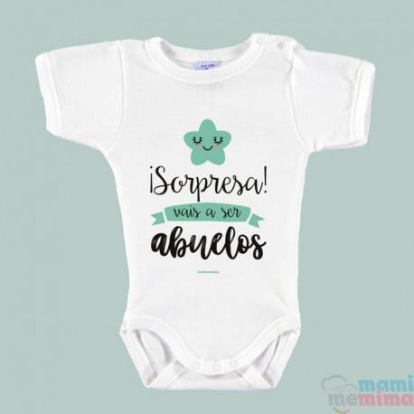 "Body Bebé Personalizado ""Sorpresa!! Vais a ser Abuelos"""
