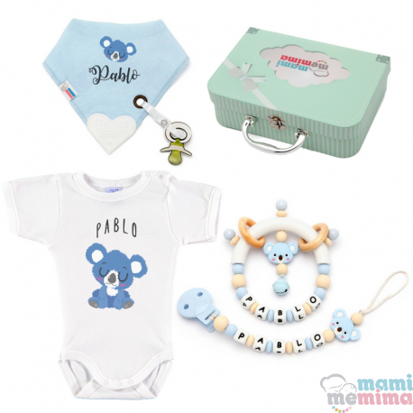 Canastilla Bebé Koala Natural Blue - Set Regalo Bebé