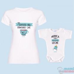 """Pack Camiseta Mamá & Body Bebé a Conjunto """"Nunca es demasiado Café"""""""