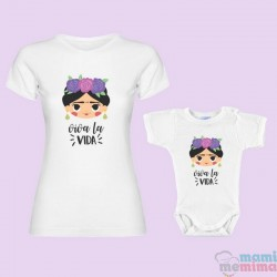 "Pack Camiseta Mamá & Body Bebé a Conjunto Frida khalo - ""Viva La Vida"""""