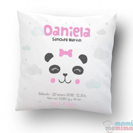 Cojin de Nacimiento Estilo Nórdico Personalizado Oso Panda