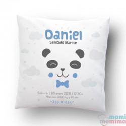 Cojin de Nacimiento Estilo Nórdico Personalizado Oso Panda Azul