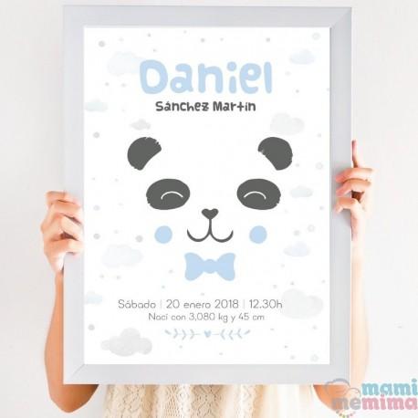 Lámina de Nacimiento Nórdica Oso Panda Azul