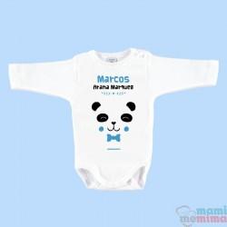 """Body Bebé Personalizado con Nombre """"Oso Panda"""" Azul"""